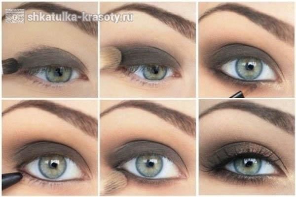 Макияж коричневыми тенями для голубых глаз пошагово