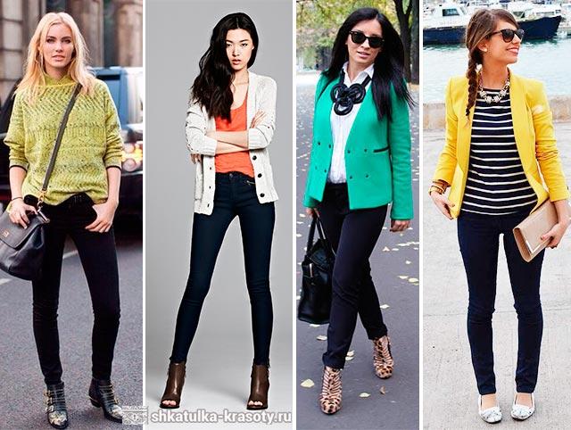 С чем одевать джинсы синего цвета