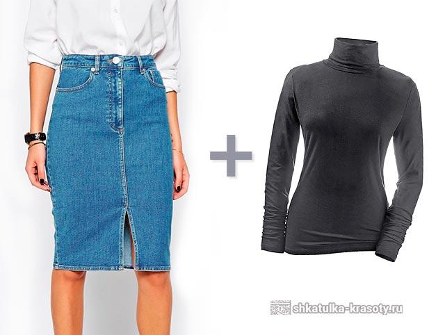 Юбка джинсовая с чем носить зимой