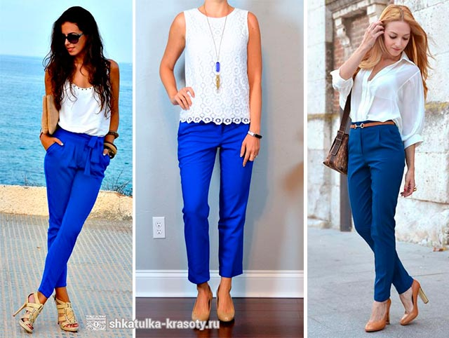 Голубые укороченные брюки с чем носить