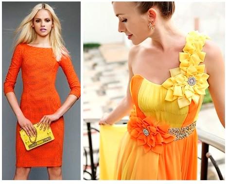 Сочетание цветов в одежде оранжевый и желтый