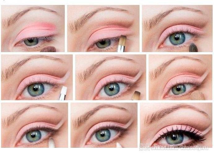Макияж глаз розовыми тенями для голубых глаз