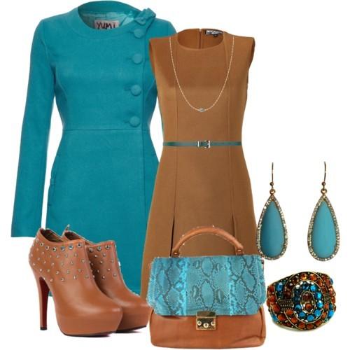 Сочетание цветов в одежде бирюзовый и коричневый