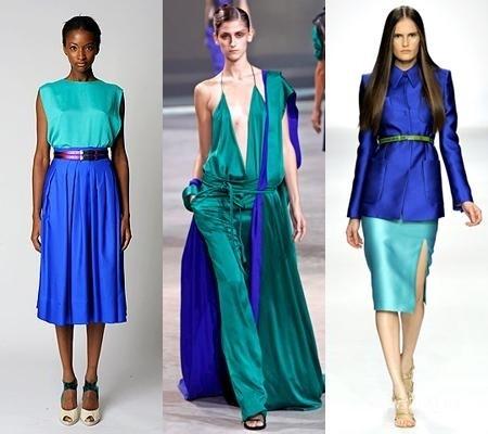 Сочетание цветов в одежде бирюзовый и синий
