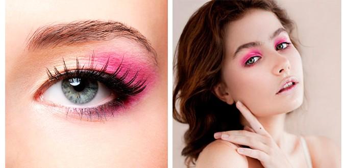 Макияж глаз розовыми тенями