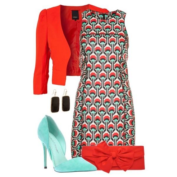 Сочетание цветов в одежде бирюзовый и красный