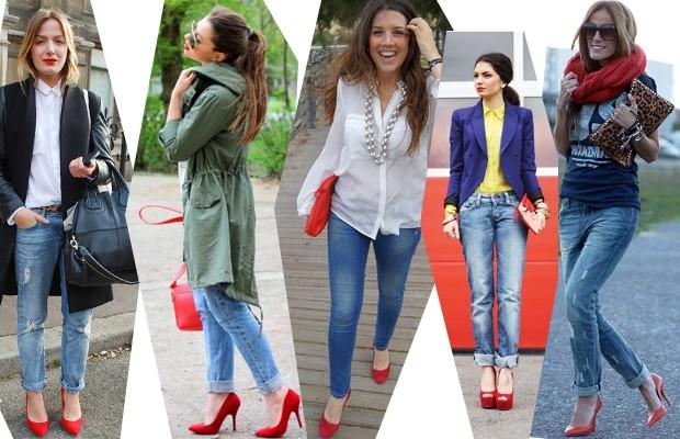 Красные туфли с чем носить Фото