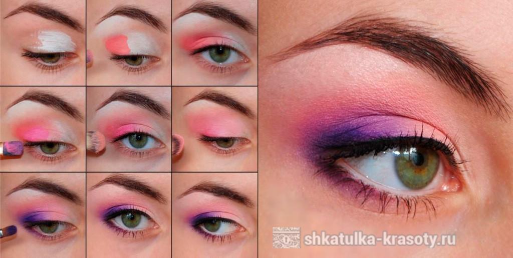 Макияж глаз розовыми тенями для зеленых глаз