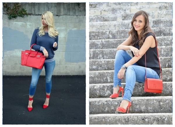 Красные туфли и джинсы