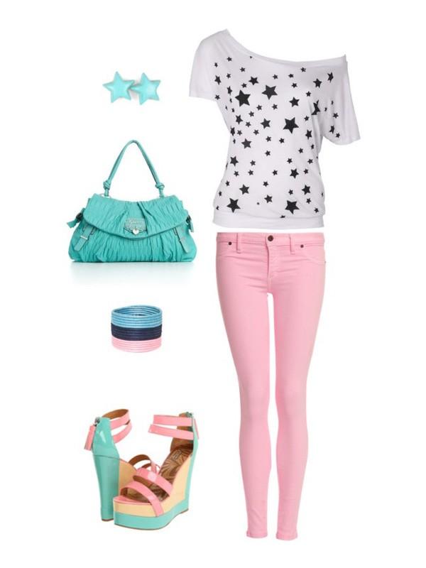 Сочетание цветов в одежде бирюзовый и розовый