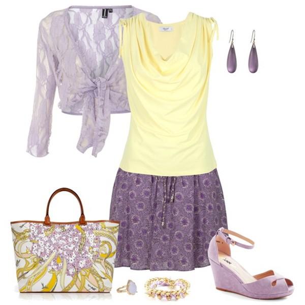Сочетание цветов в одежде сиреневый и желтый, оранжевый и золотой