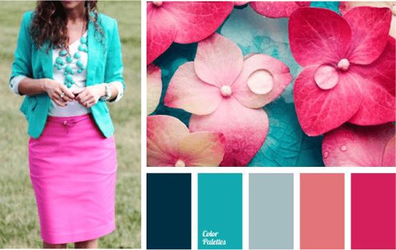 Сочетание цветов в одежде - бирюзовый