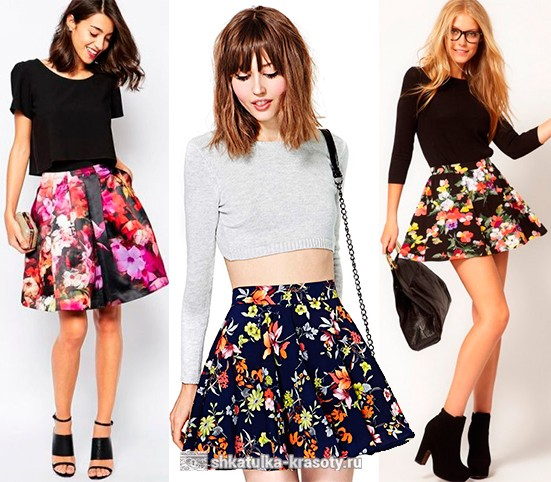 Пышная юбка с цветочным принтом