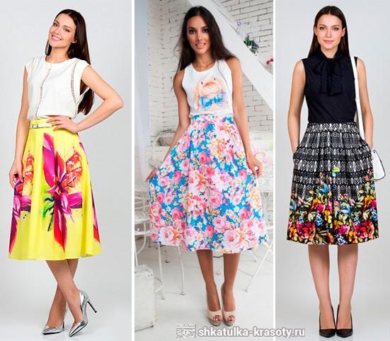 Как сочетать юбку с цветочным принтом