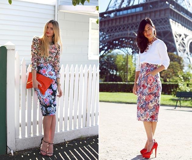 Белая блузка и цветная юбка