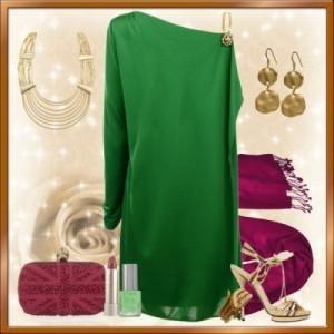Сочетание цветов в одежде зеленый и бордовый