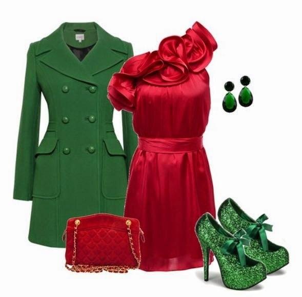 Сочетание цветов в одежде зеленый и красный