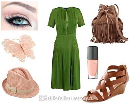 Сочетание цветов в одежде зеленый и коричневый