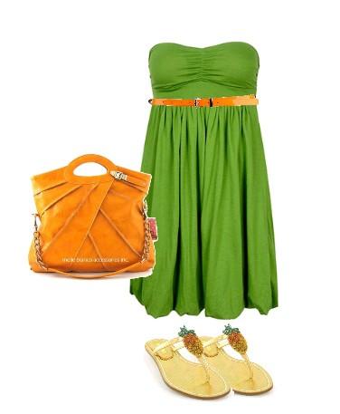 Сочетание цветов в одежде зеленый и оранжевый