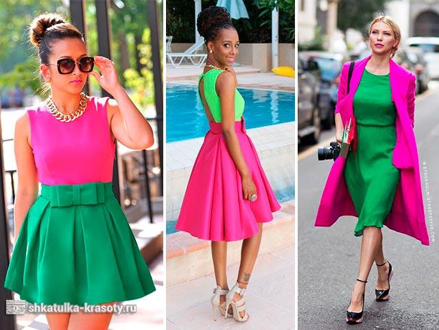 сочетание зеленого цвета в одежде