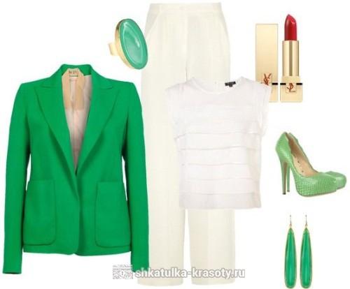 Сочетание цветов в одежде зеленый
