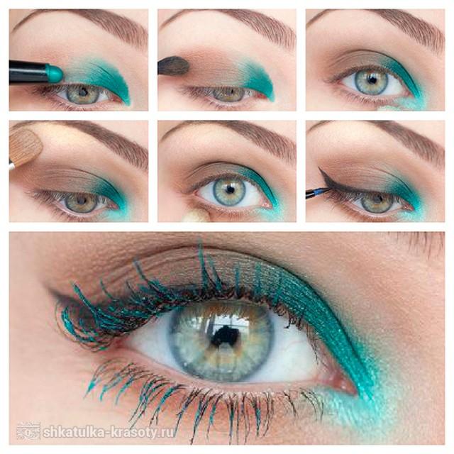 Бирюзовый макияж для голубых и серых глаз