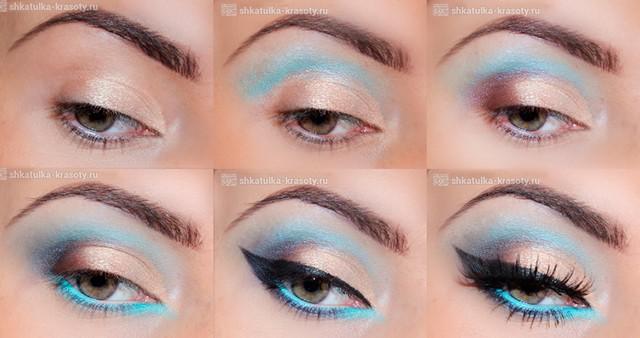Бирюзовый макияж для зеленых глаз
