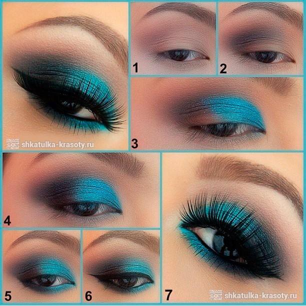 Бирюзовый макияж для карих глаз
