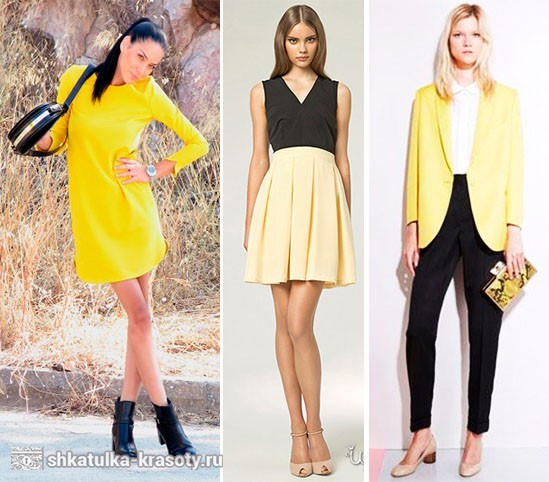 Сочетание цветов в одежде желтый и черный