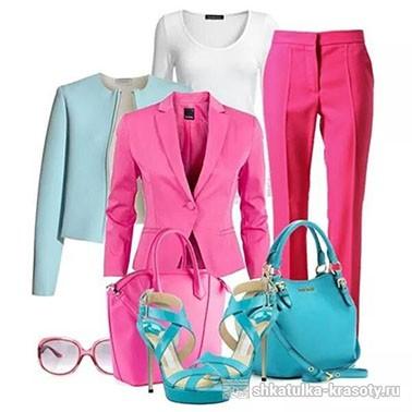 Сочетание цветов в одежде розовый и голубой бирюзовый