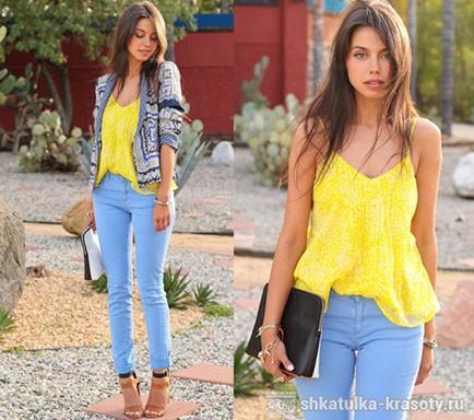 Сочетание цветов в одежде желтый и голубой бирюзовый