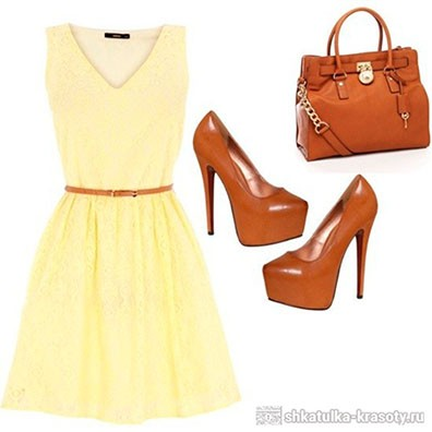Сочетание цветов в одежде желтый и коричневый