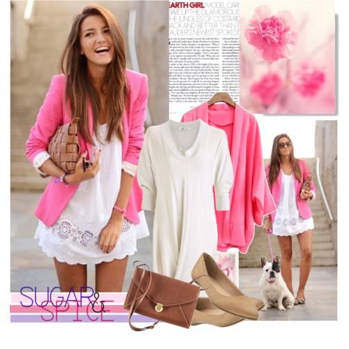 Сочетание цветов в одежде розовый и бежевый