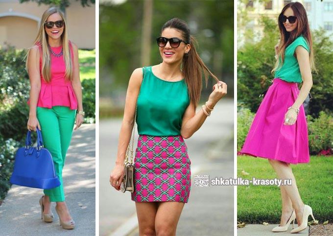 зеленый с розовым в одежде