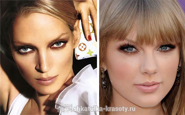 коричневый макияж глаз для голубых глаз
