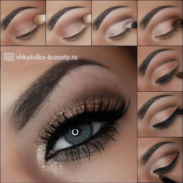 коричневый макияж глаз для серых глаз