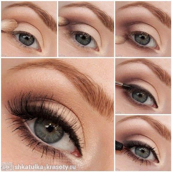 Макияж коричневыми тенями для голубых глаз