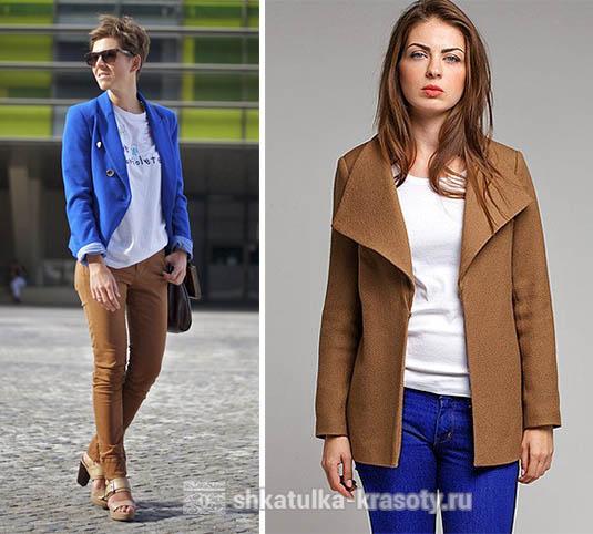 Сочетание цветов коричневый и синий в одежде