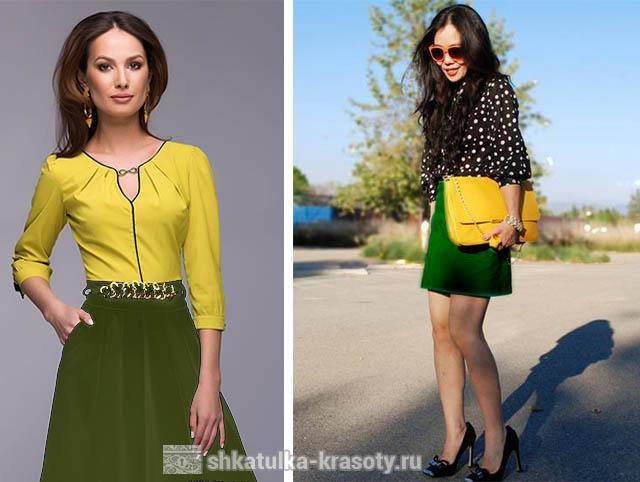 Оливковый цвет и желтый. Сочетания