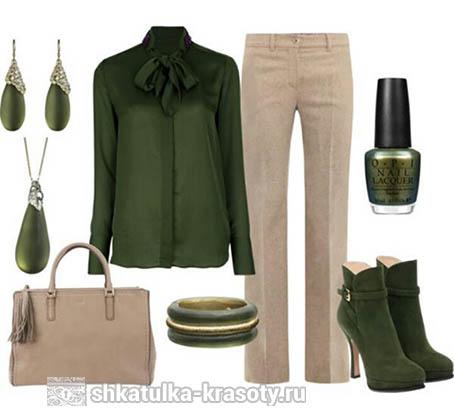 Оливковый цвет и бежевый. Сочетания