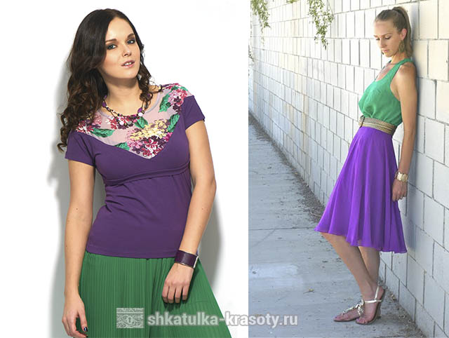 Фиолетовый и зеленый цвет сочетание