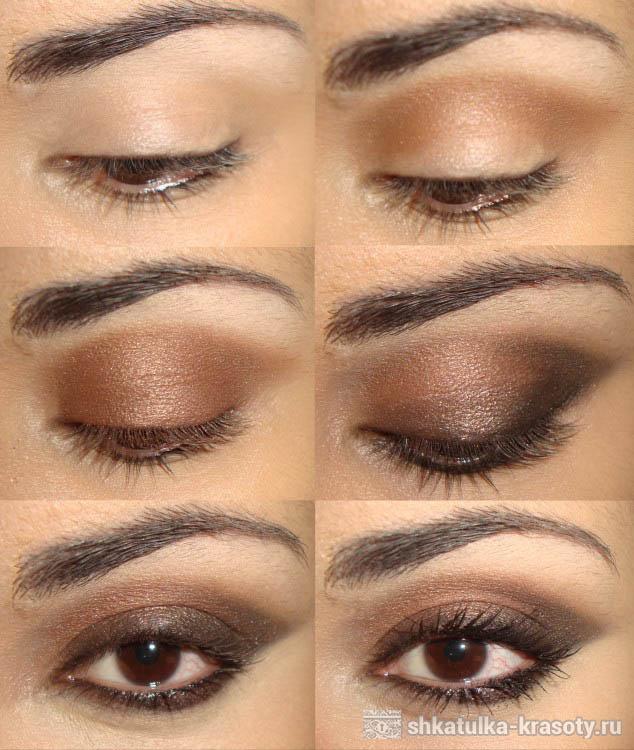Макияж коричневыми тенями для карих глаз