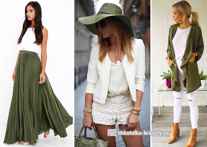 оливковый и белый в одежде