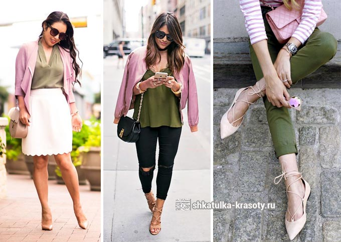 оливковый и розовый в одежде