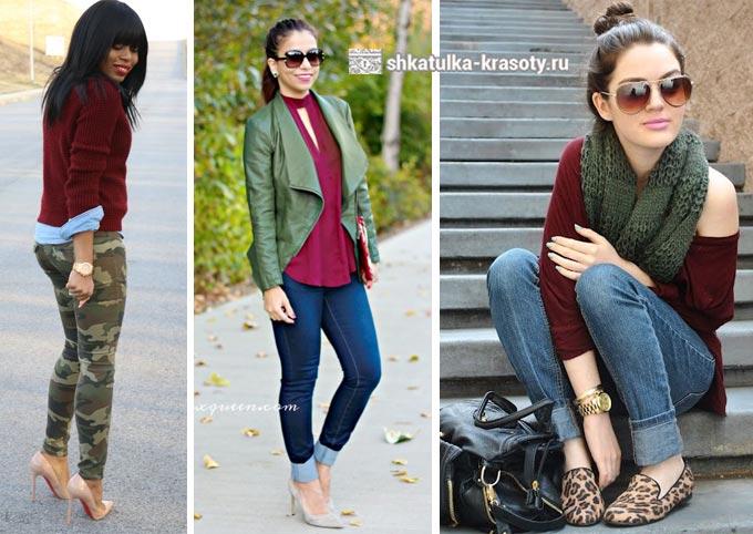 оливковый и бордовый в одежде