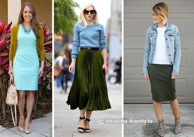 сочетание оливкового и синего в одежде