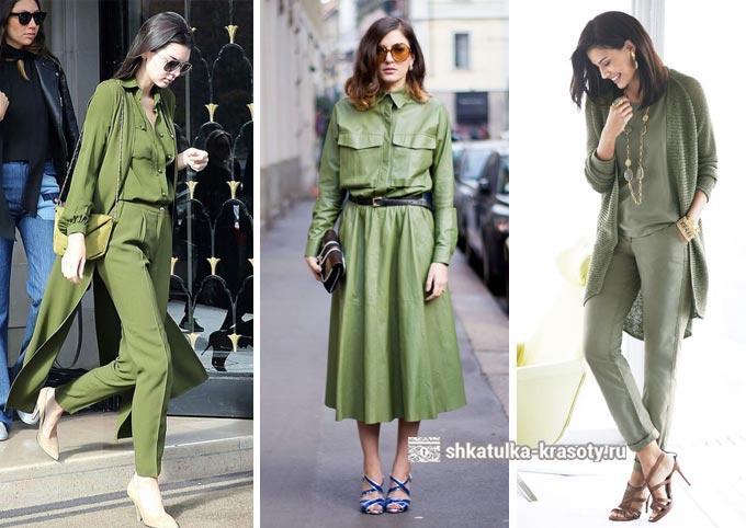сочетание оливкового в одежде