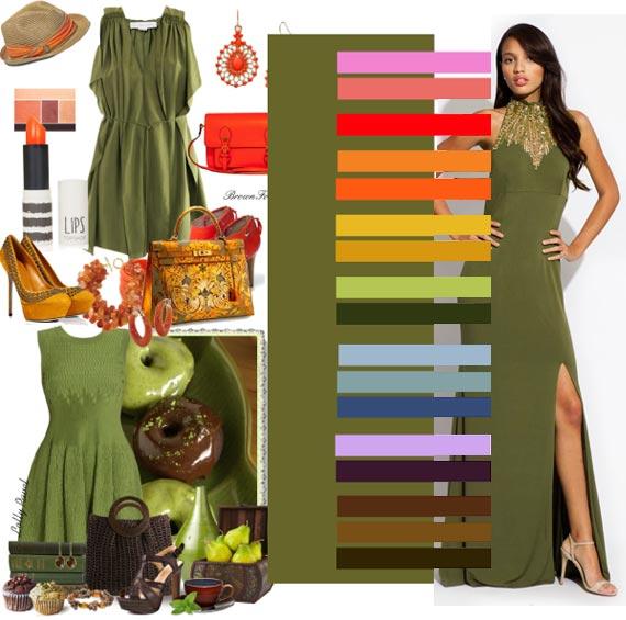 Оливковый цвет в одежде с чем носить