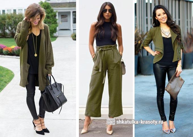 сочетание оливкового и черного в одежде