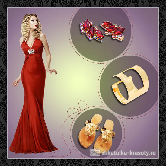Look к красному платью